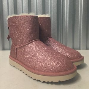 UGG Mini Bailey Bow Pink Sparkle Boots